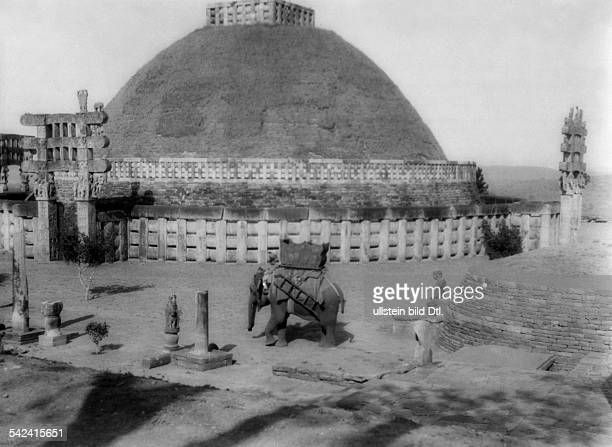 India Madhya Pradesh Bhopal view at the large stupa near Sanchi in the Bhopal 1929 Photographer Alice Schalek Published by 'Die Dame' 09/1929Vintage...