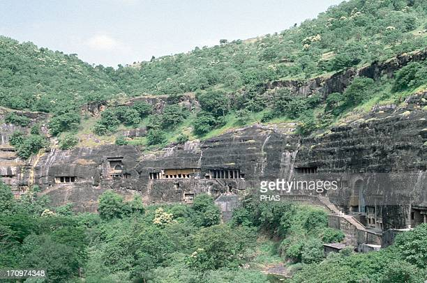 India Maharashtra Ajanta Caves Rockcut cave monuments which date from the 2nd century BCE to the 600 CE UNESCO World Heritage Site Exterior view