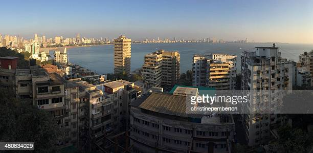 India, Maharashtra, Mumbai, Kala Ghoda, View of Marine Drive and ocean from Netaji Subhash Chandra Bose Road