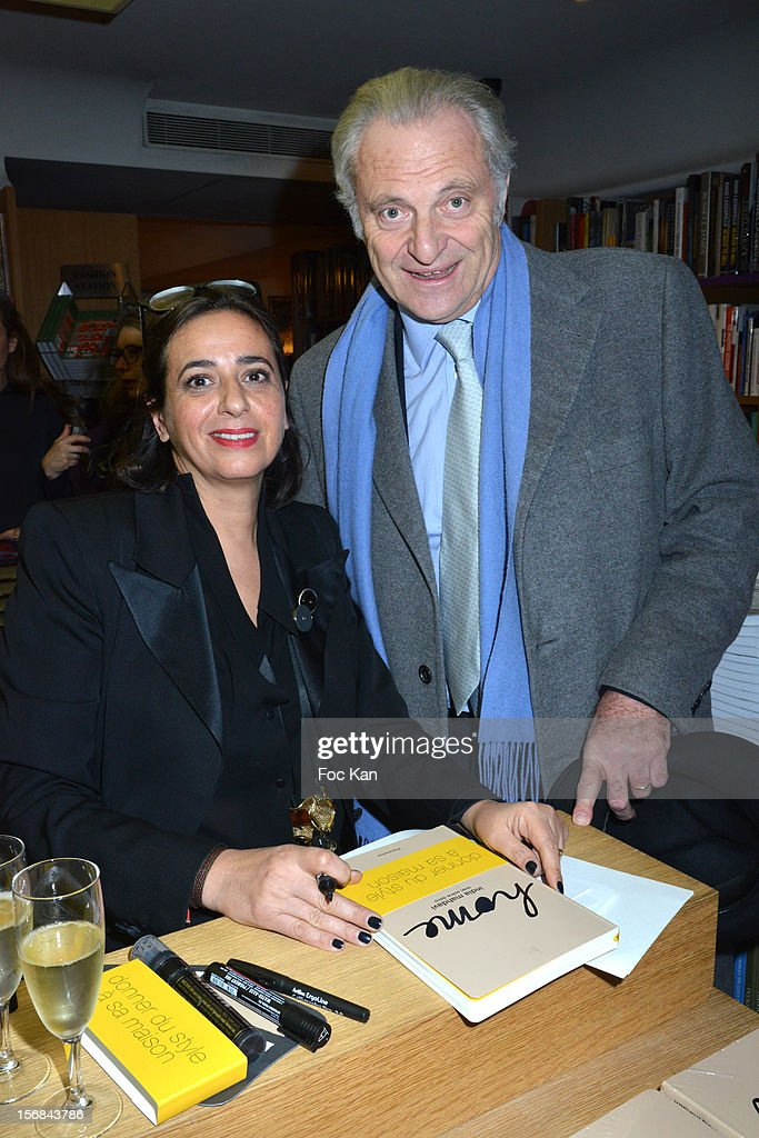India Mahdavi and Alain Flammarion attend 'Home' India Madhavi and Soline Delos Book Launch at Musee Arts Decoratifs Bookshop on November 22, 2012 in Paris, France.