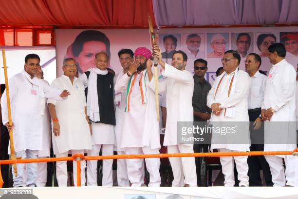 India main opposition Congress Party Vice President Rahul Gandhi being welcomed by Party leaders during the 'Kisan Akrosh Rally ' at Banswara in...
