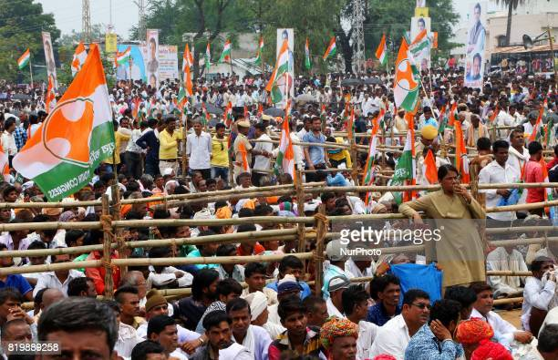 India main opposition Congress Party Vice President Rahul Gandhi supporters during the 'Kisan Akrosh Rally ' at Banswara in Rajasthan on 19th July2017