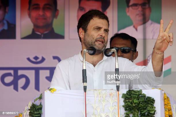 India main opposition Congress Party Vice President Rahul Gandhi speaks during the 'Kisan Akrosh Rally ' at Banswara in Rajasthan on 19th July2017