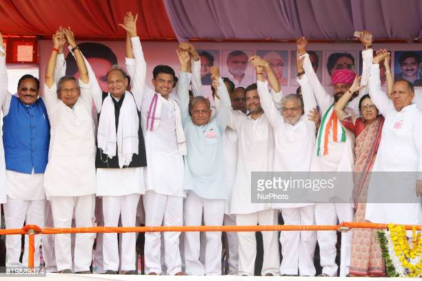 India main opposition Congress Party Vice President Rahul Gandhi with Party leaders during the 'Kisan Akrosh Rally ' at Banswara in Rajasthan on 19th...