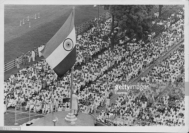 India marks 14 years of independence President Nehru addressing immense crowd before Delhi's Red Fort India August 18th 1960