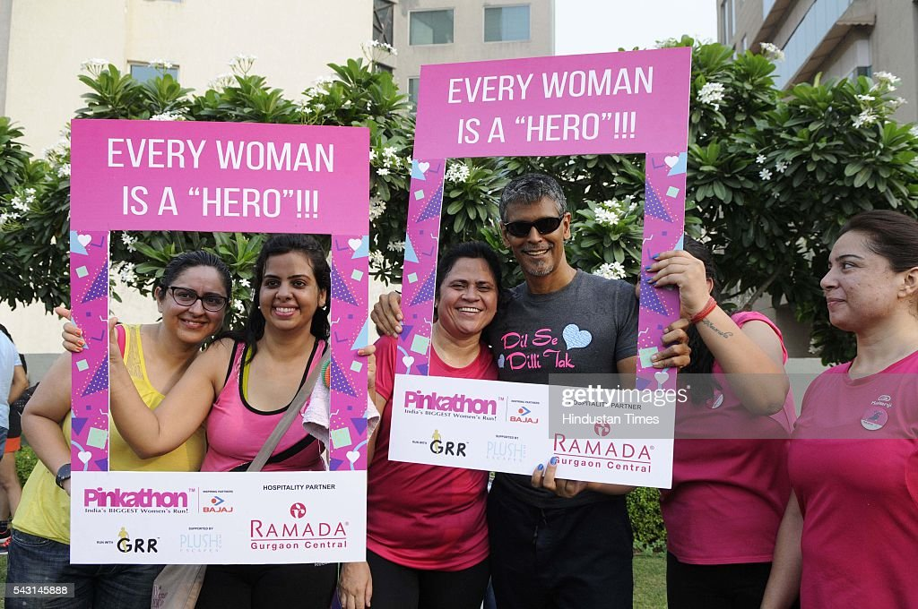 India model-actor-runner Milind Soman with more than 100 women participants take part during a Pinkathon, touted as India's biggest women's run, on June 26, 2016 in Gurgaon, India. The Pinkathon is India's Biggest Womens Run, founded by Mr. Milind Soman and Ms. Reema Sanghavi, organised by the United Sisters Foundation and created with the specific purpose of getting more and more women to adopt a fitter lifestyle for themselves and their families, and to highlight the need for increased awareness other issues that put womens lives at risk.