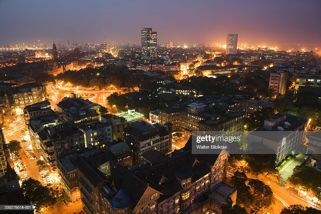 India, Mumbai, Fort Area and downtown skyline, aerial view, night : Stock Photo