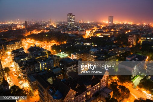 India, Mumbai, Fort Area and downtown skyline, aerial view, night : Foto stock