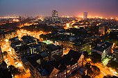 India, Mumbai, Fort Area and downtown skyline, aerial view, night
