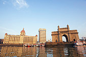 India, Mumbai, Gateway of India, view across harbour