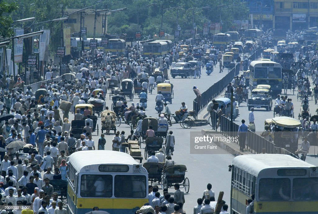 India, New Delhi, crowded street, traffic, elevated view : Stock Photo