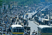 India, New Delhi, crowded street, traffic, elevated view