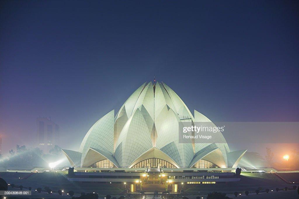 India, New Delhi, Kalkaji, Bahai Lotus Temple, night