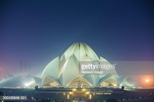 India, New Delhi, Kalkaji, Bahai Lotus Temple, night : Stock Photo