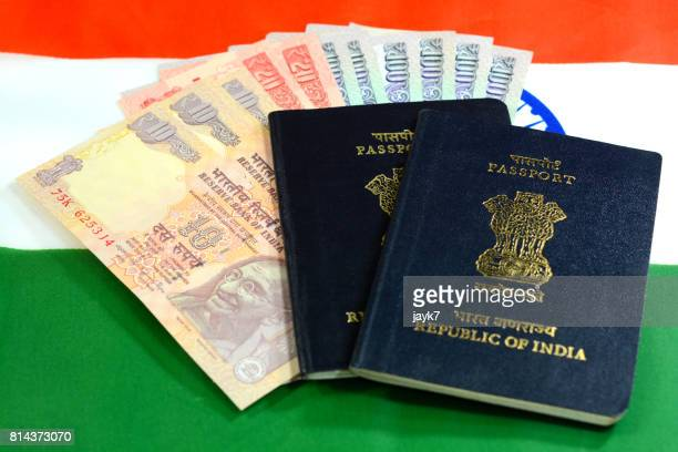 India Passport and Currency