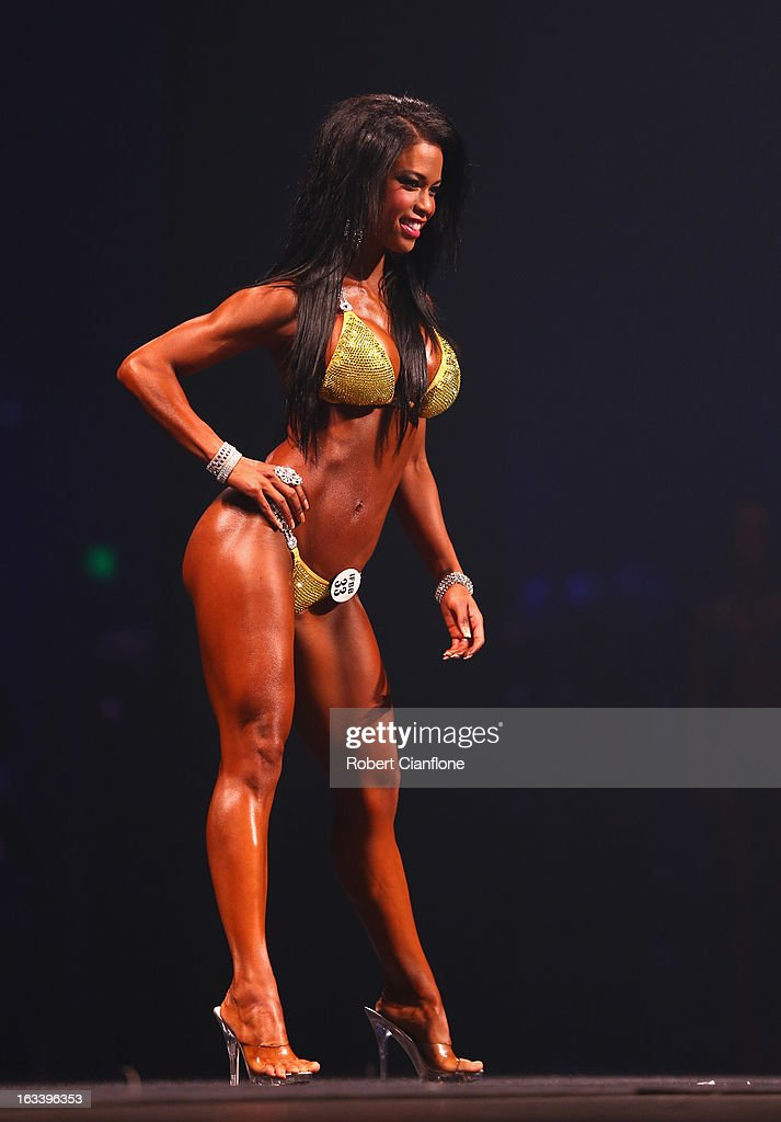 India Paulino of the USA poses in the Women's Bikini section during the IFBB Australia Pro Grand Prix XIII at The Plenary on March 9, 2013 in Melbourne, Australia.
