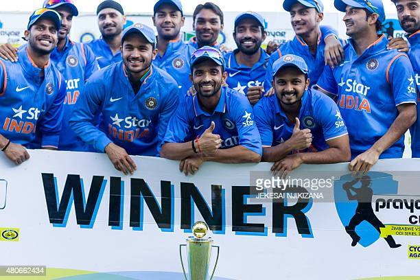 India players celebrate a series victory after the third and final game in a series of 3 ODI cricket matches between India and hosts Zimbabwe at...