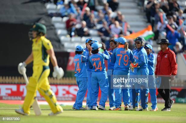 India players celebrate after getting Nicole Bolton of Australia out during the SemiFinal ICC Women's World Cup 2017 match between Australia and...
