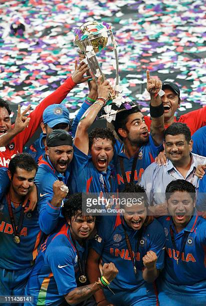 India players celebrate after India defeated Sri Lanka in the 2011 ICC World Cup Final between India and Sri Lanka played at Wankhede Stadium on...