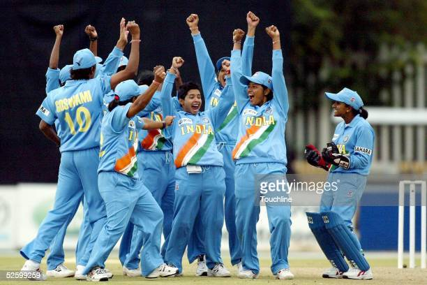 India players celebrate the wicket of Louise Milliken of New Zealand during the IWCC Women's World Cup SemiFinal between India and New Zealand at...