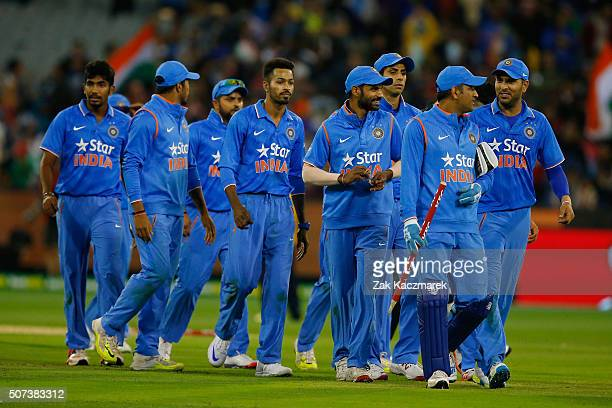 India players celebrate winning the International Twenty20 match between Australia and India at Melbourne Cricket Ground on January 29 2016 in...