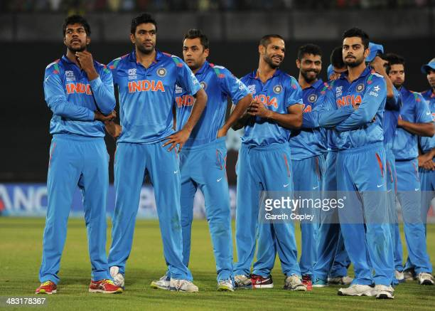 India players react after losing the ICC World Twenty20 Bangladesh 2014 Final between India and Sri Lanka at ShereBangla Mirpur Stadium on April 6...