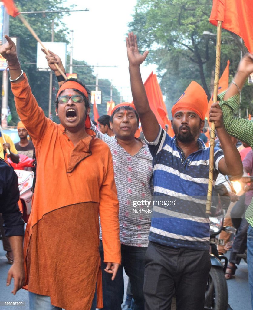 india political party bjp and rss supporters rally in kolkata