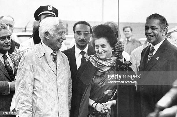 India Prime Minister Indira Gandhi as she as arrives at JFK airport and is met by United States ambassador to India Kenneth Keating New York New York...