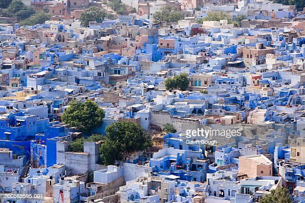 India, Rajasthan, Blue City of Jodhpur, aerial view