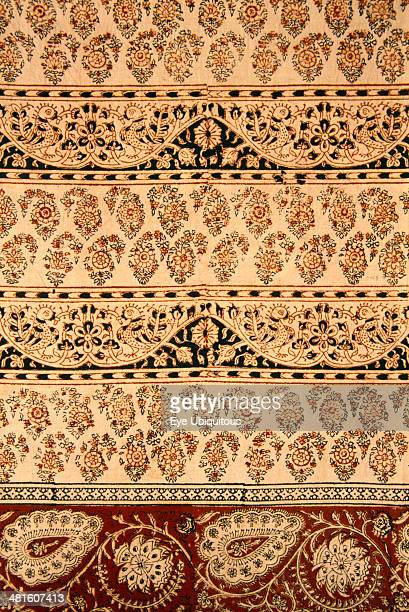 India Rajasthan Colorful red black and cream patterned textile block print on cloth fabric