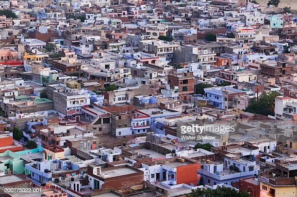 India, Rajasthan, Jaipur skyline, elevated view, dusk