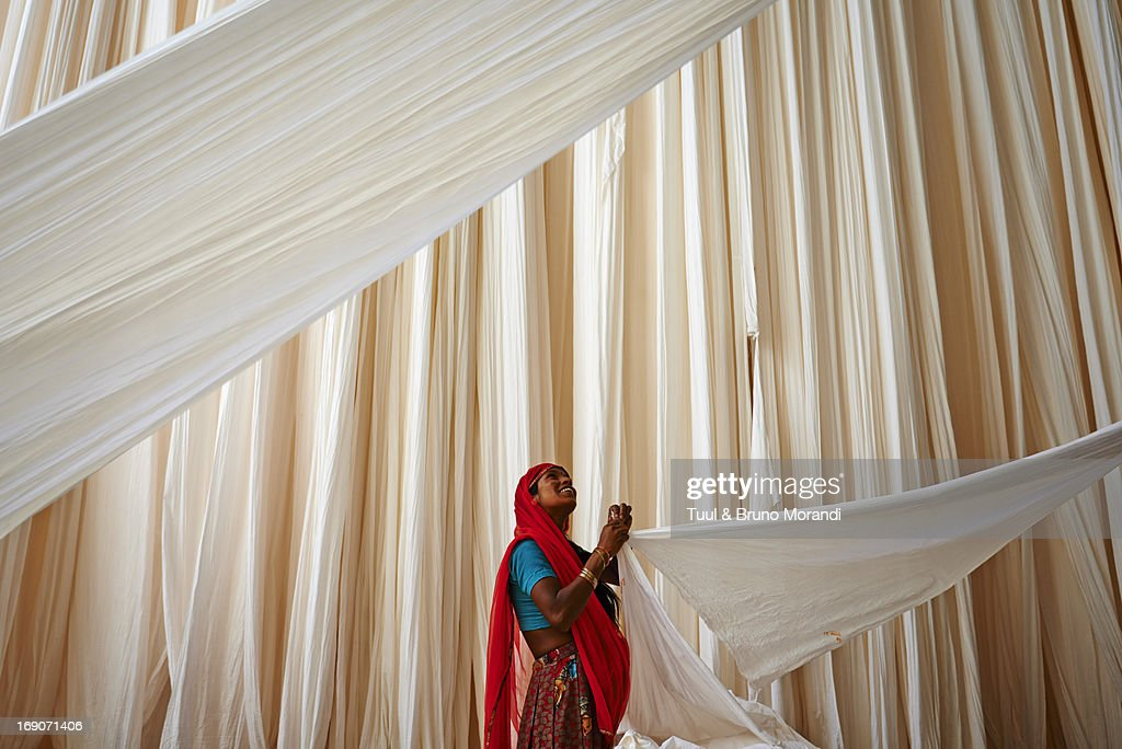 India, Rajasthan, Sari Factory.