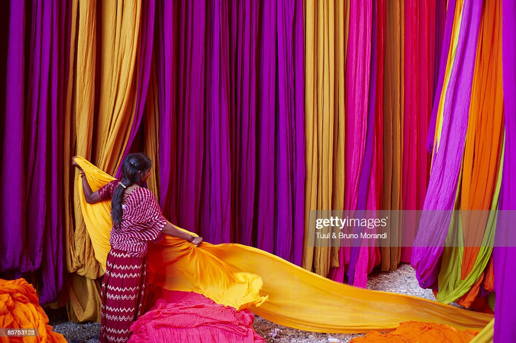 India, Rajasthan, Sari Factory. : Stock Photo