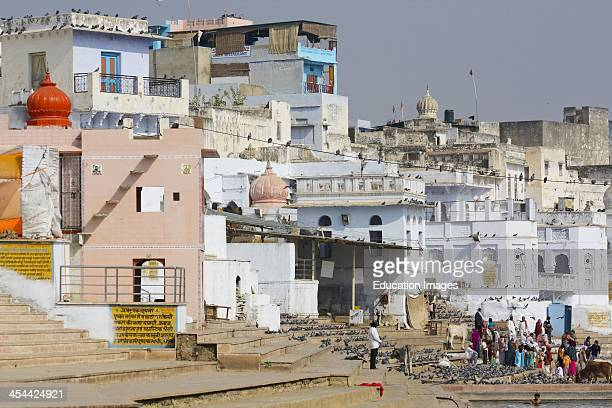 India Rajasthan State Pushkar a town famous as a Hindu pilgrimage center and Sacred lake holy place for Hindus who take dip in holy water