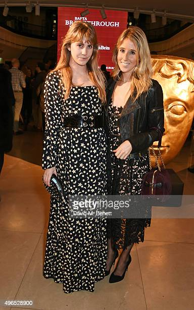 India Rose James and Fawn James attend the BAFTA Breakthrough Brits reception in partnership with Burberry at 121 Regent Street on November 10 2015...