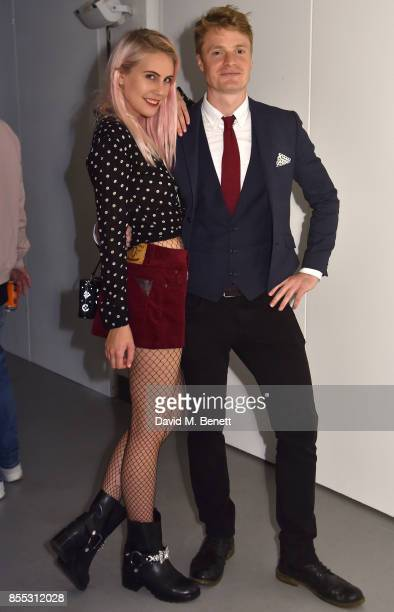 India Rose James and Oli Goss attend a private view of artist Chemical X's new exhibition 'CX300' at The Vinyl Factory on September 28 2017 in London...