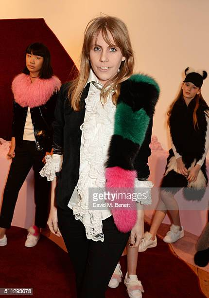 India Rose James attends the Charlotte Simone presentation during London Fashion Week Autumn/Winter 2016/17 at Scream Gallery on February 19 2016 in...