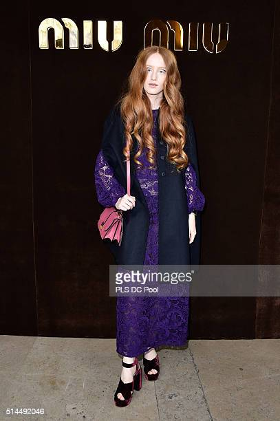 India Salvor Menuez attends the Miu Miu show as part of the Paris Fashion Week Womenswear Fall / Winter 2016 on March 9 2016 in Paris France