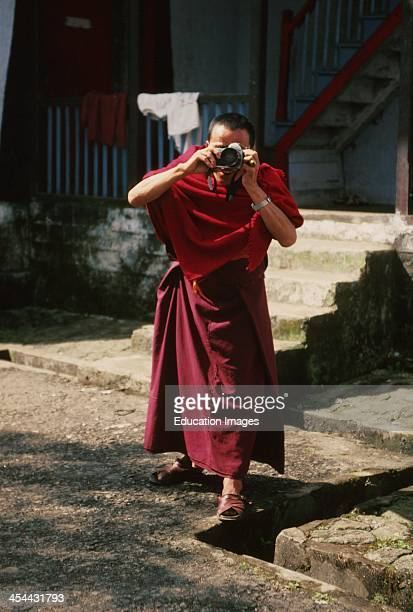 India Sikkim State On Northeast Border Of India Monk Enchey Monastery