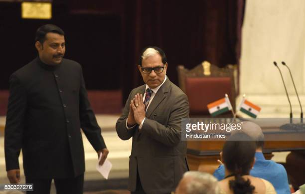 India Supreme Court Judge Justice Arjan Kumar Sikri during the 13th VicePresident of India sworn ceremony by M Venkaiah Naidu at Darbar Hall...