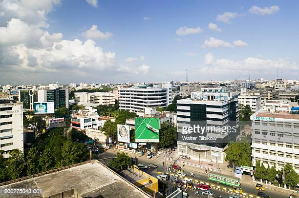 India, Tamil Nadu, Chennai skyline and MG Road