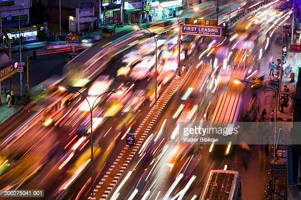 India, Tamil Nadu, Chennai, traffic on Anna Salai Road, night