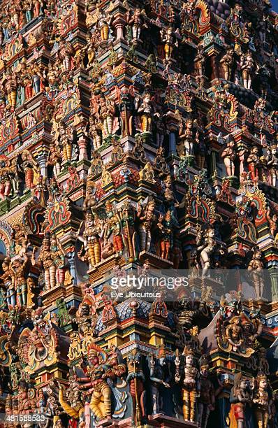 India Tamil Nadu Madurai Sri Meenakshi Temple Detail of ornately carved and painted exterior