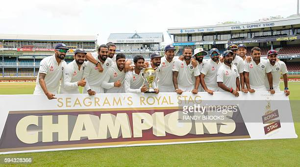India team celebrates winning the series against West Indies after play was abandoned day 5 of the 4th and final Test between West Indies and India...