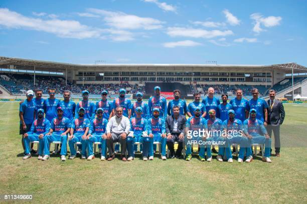 India team photo during the T20 match between West Indies and India at the Sabina Park Cricket Ground in Kingston Jamaica on July 9 2017 / AFP PHOTO...
