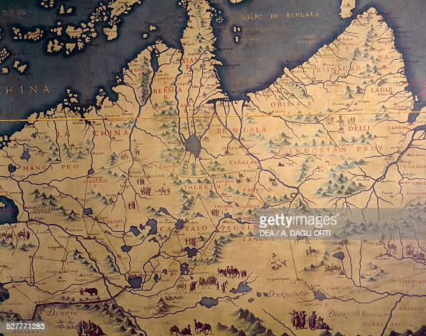 India the Far East and China Sea map made in 1540 by Giovan Battista Ramusio and revised in 1761 by Francesco Griselini Map or Shield room Palazzo...