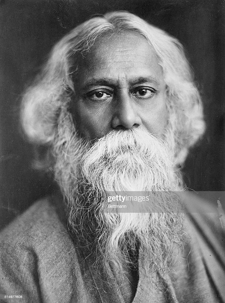 This is the most striking photo ever taken of the great poet and philosopher of India, Sir <a gi-track='captionPersonalityLinkClicked' href=/galleries/search?phrase=Rabindranath+Tagore&family=editorial&specificpeople=644181 ng-click='$event.stopPropagation()'>Rabindranath Tagore</a>. He has won the Nobel Prize for his works. He has also established at Shantinketan, India, a University which promises to become one of the leading centers of Oriental culture.