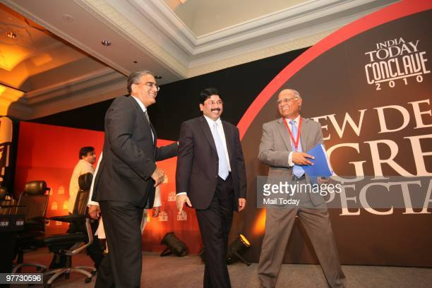 India Today group chairman Aroon Purie with minister of Textiles Dayanidhi Maran and India Today Editor Prabhu Chawla at the India Today Conclave in...