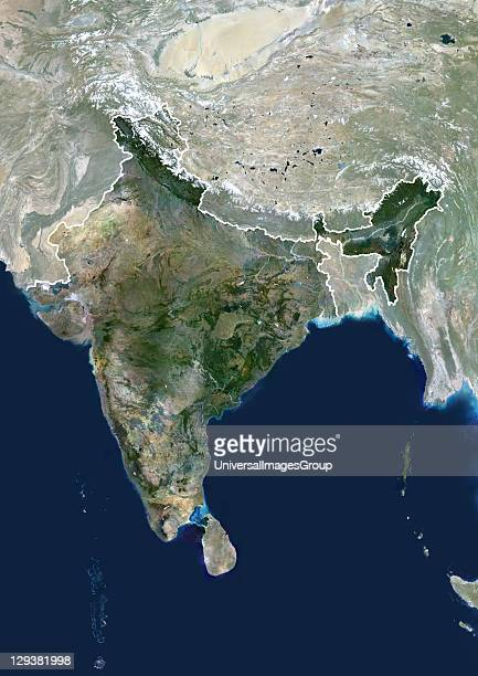 India true colour satellite image with mask and border This image shows the Indian subcontinent bordered by Pakistan to the northwest and China and...