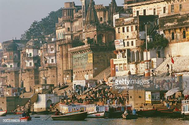 India, Uttar Pradesh, Varanasi, Benares, ghats on River Ganges